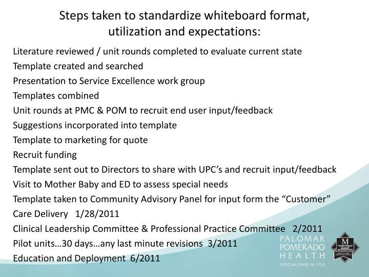 Steps taken to standardize whiteboard format,