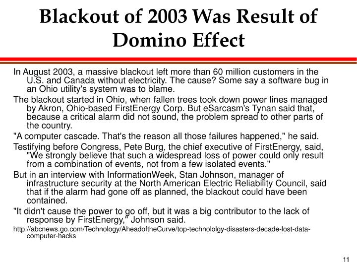 Blackout of 2003 Was Result of Domino Effect