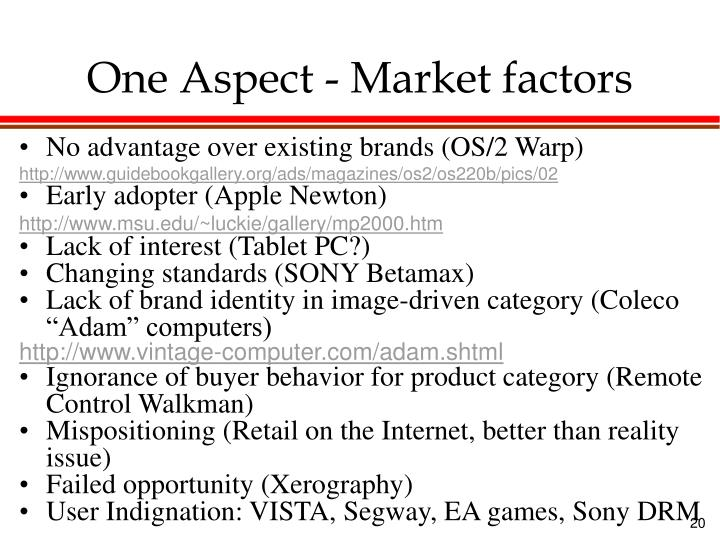 One Aspect - Market factors