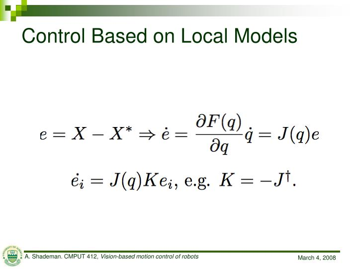 Control Based on Local Models