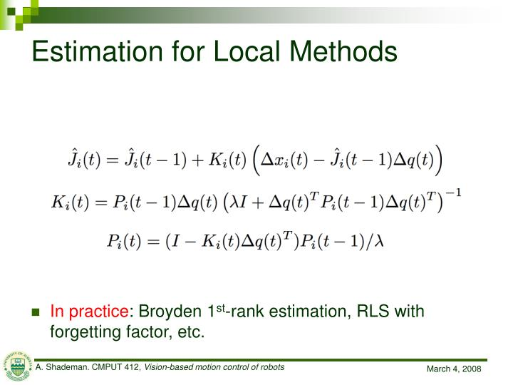 Estimation for Local Methods