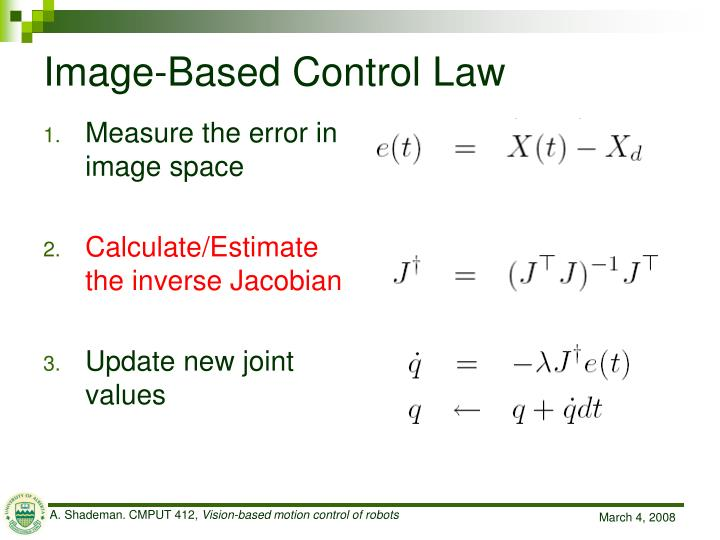 Image-Based Control Law