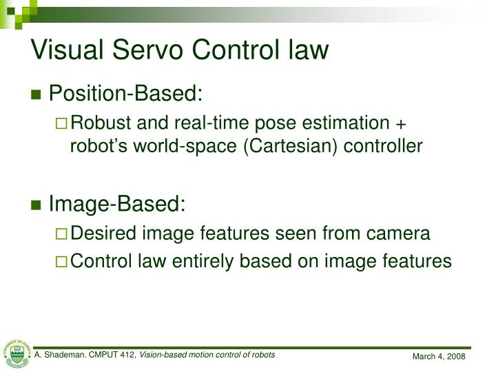 Visual Servo Control law
