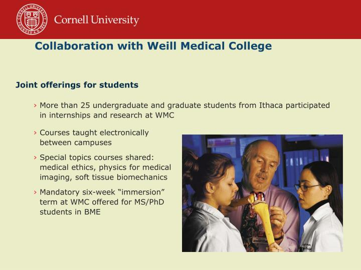 Collaboration with Weill Medical College