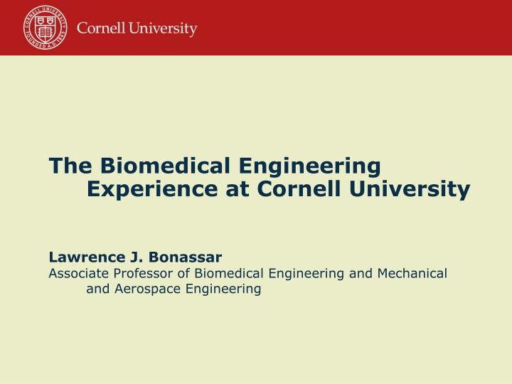 The Biomedical Engineering Experience at Cornell University