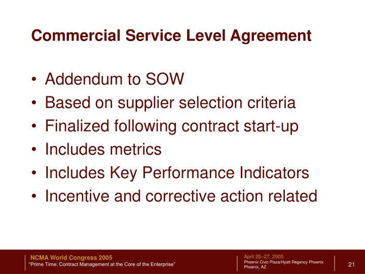 Commercial Service Level Agreement
