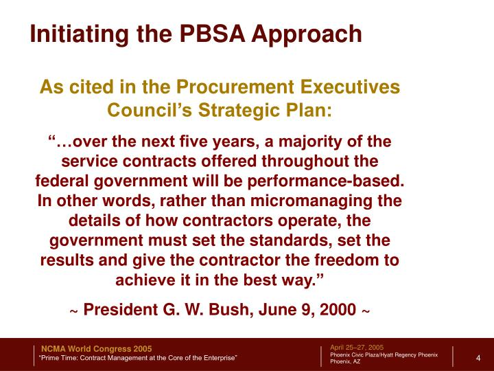 Initiating the PBSA Approach