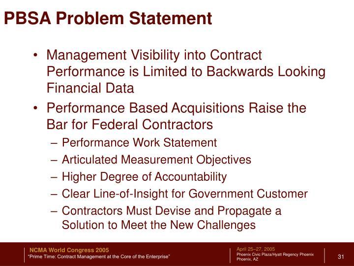 PBSA Problem Statement