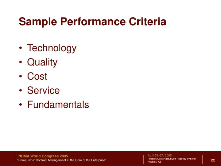 Sample Performance Criteria