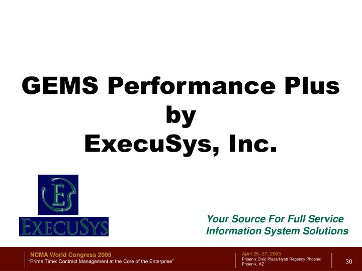 GEMS Performance Plus