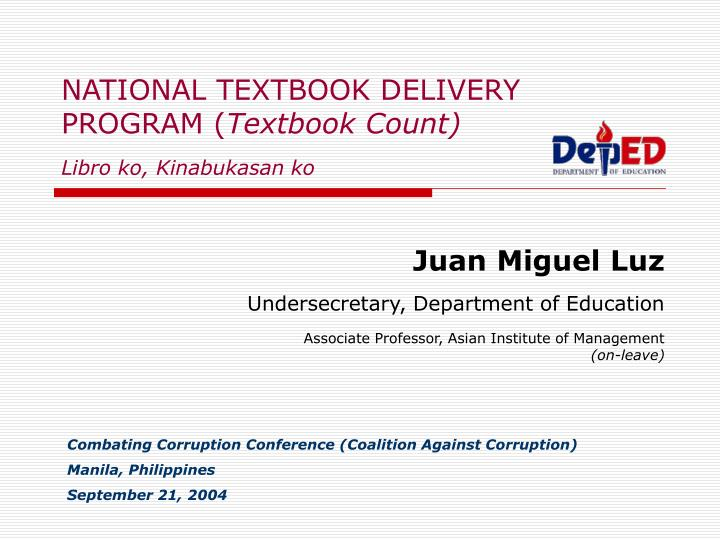 NATIONAL TEXTBOOK DELIVERY PROGRAM (