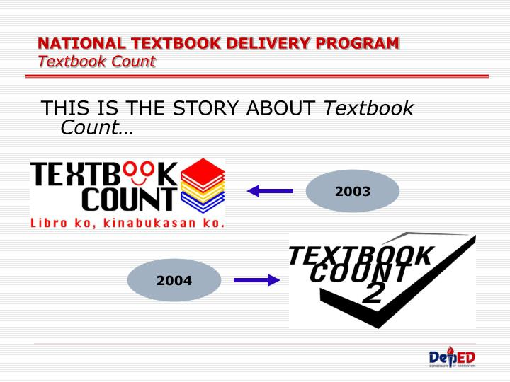 National textbook delivery program textbook count