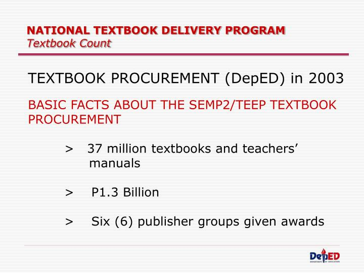 National textbook delivery program textbook count1