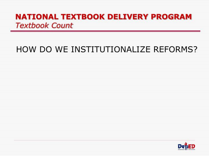 NATIONAL TEXTBOOK DELIVERY PROGRAM