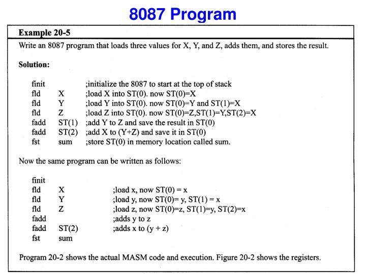 8087 Program