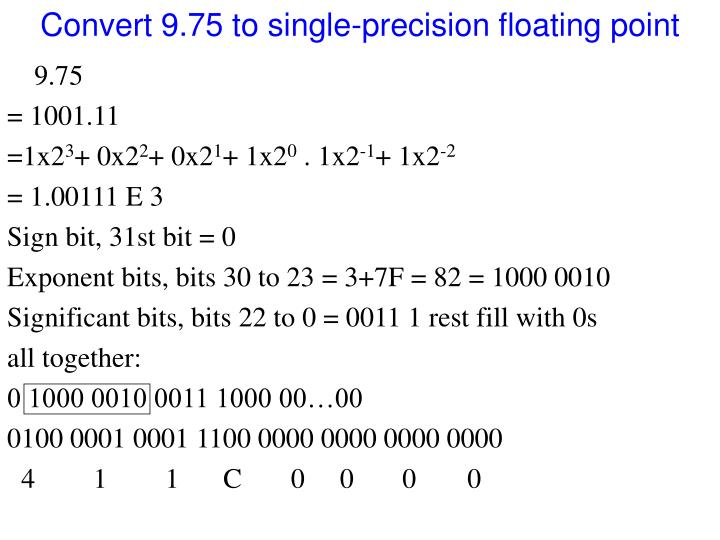 Convert 9.75 to single-precision floating point