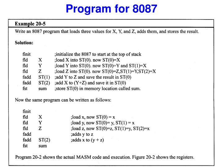 Program for 8087