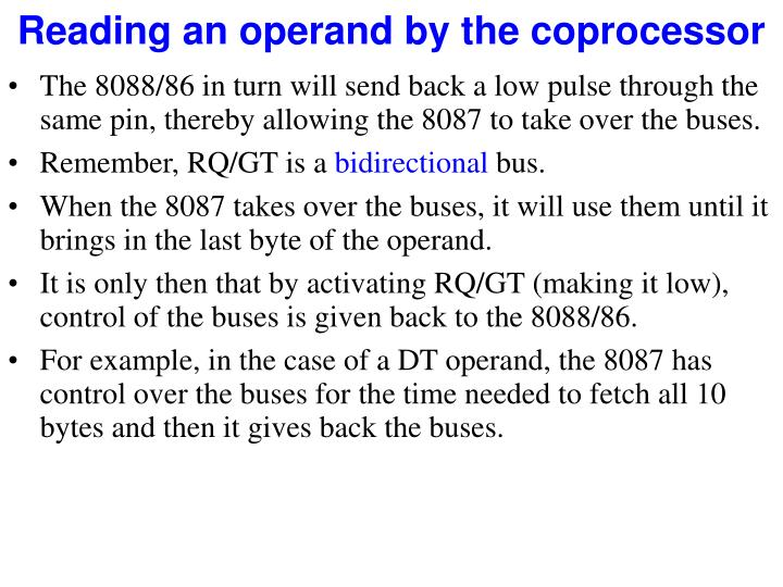 Reading an operand by the coprocessor