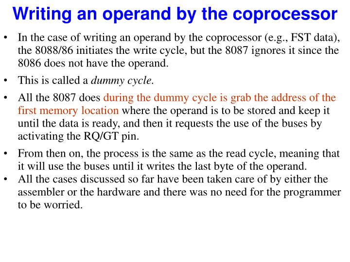 Writing an operand by the coprocessor