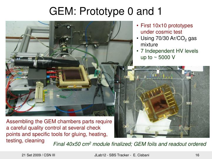 GEM: Prototype 0 and 1