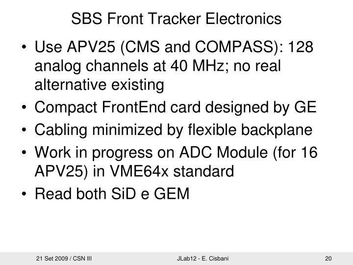 SBS Front Tracker Electronics