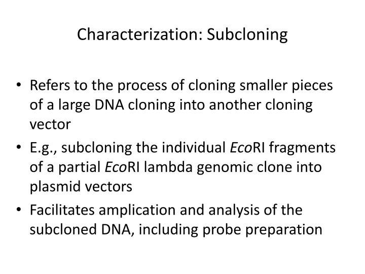 Characterization: Subcloning