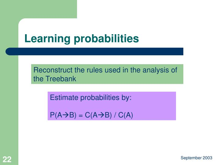 Learning probabilities