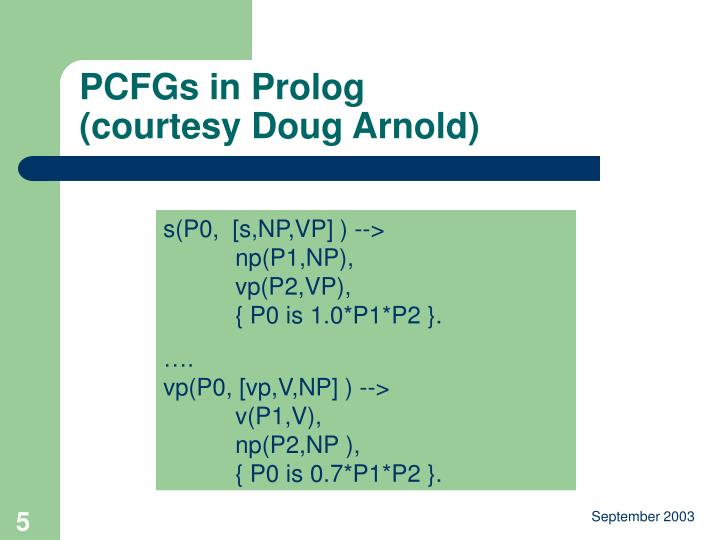 PCFGs in Prolog