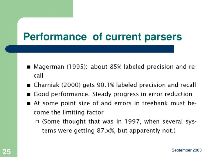 Performance  of current parsers