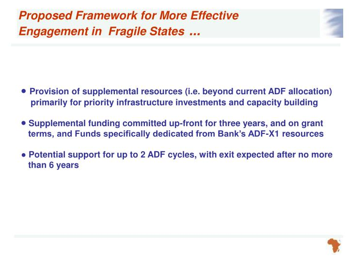 Proposed Framework for More Effective Engagement in  Fragile States