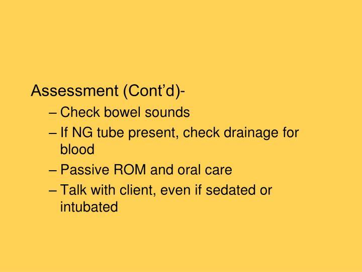 Assessment (Cont'd)-