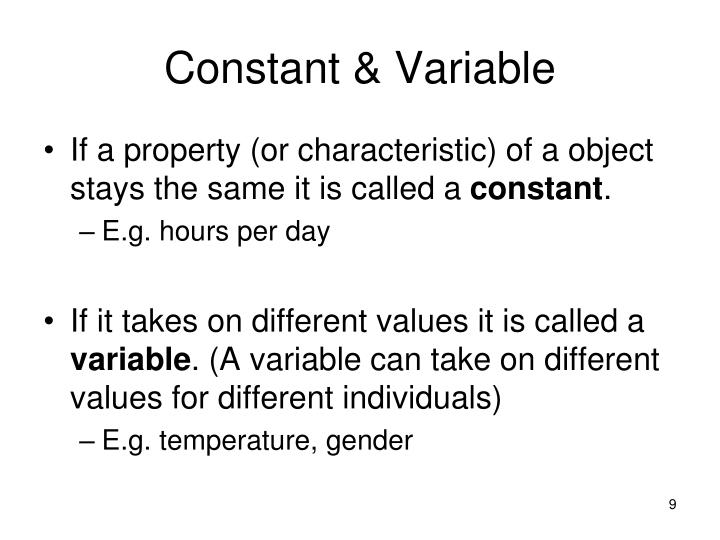 Constant & Variable