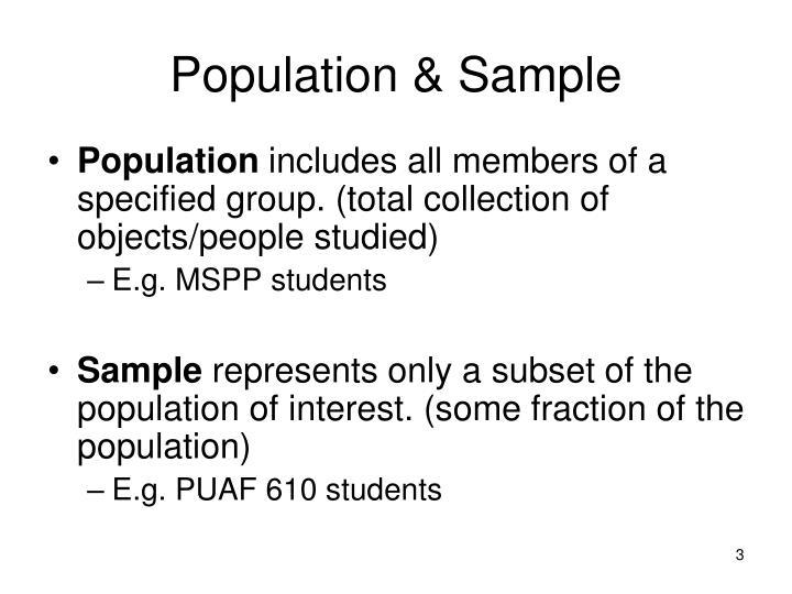 Population & Sample