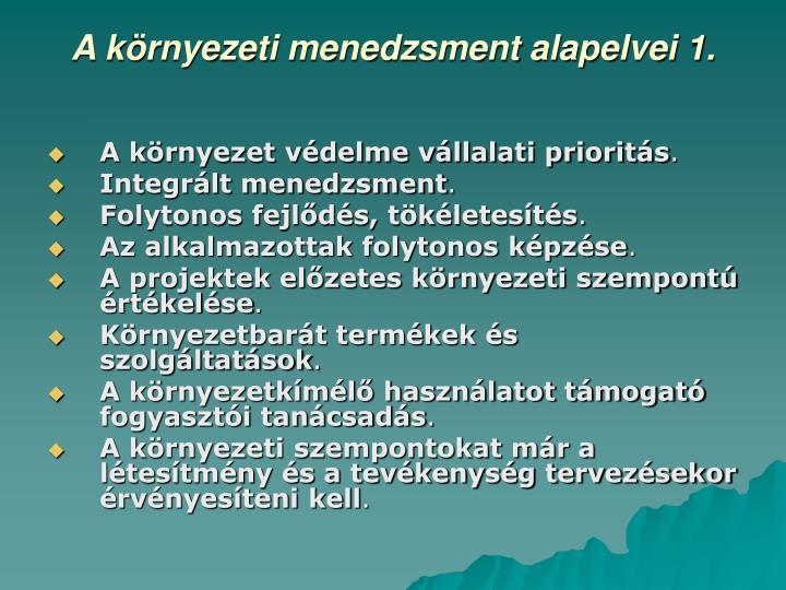 A környezeti menedzsment alapelvei 1.