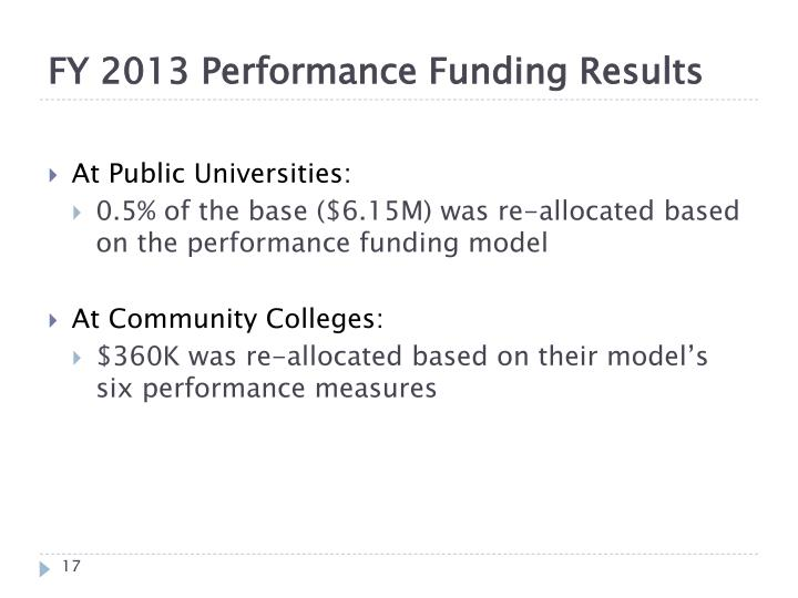 FY 2013 Performance Funding Results