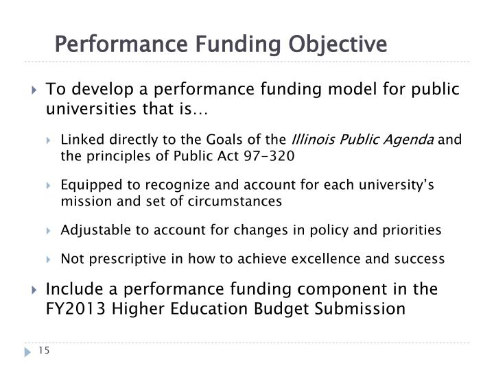 Performance Funding Objective