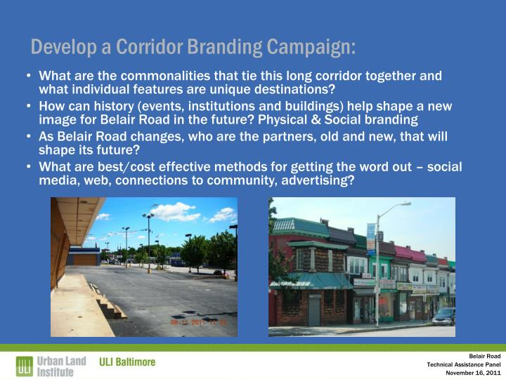 Develop a Corridor Branding Campaign: