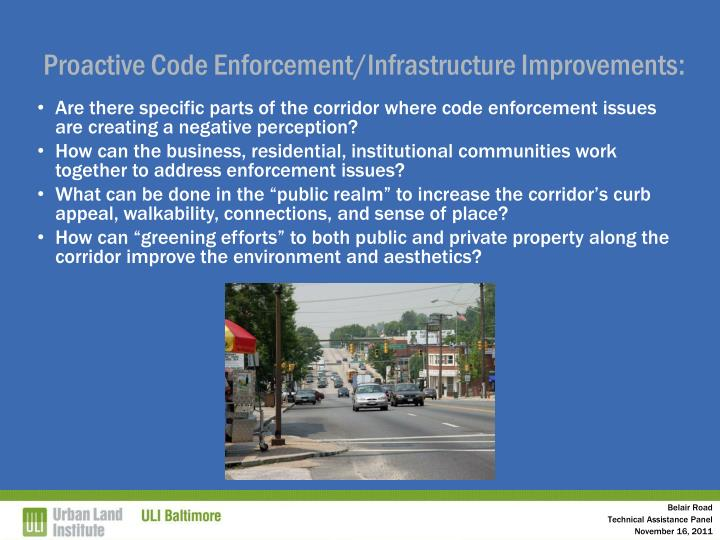 Proactive Code Enforcement/Infrastructure Improvements