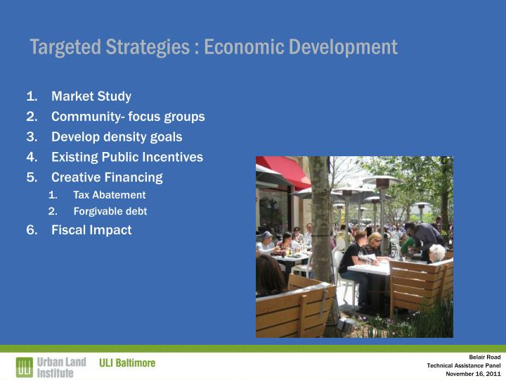 Targeted Strategies : Economic Development