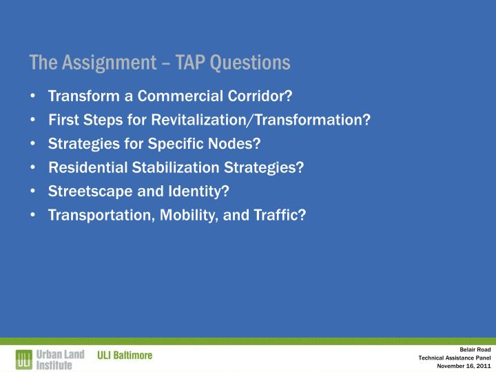 The Assignment – TAP Questions