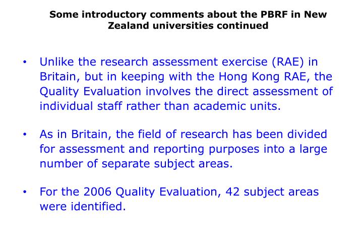 Some introductory comments about the PBRF in New Zealand universities continued