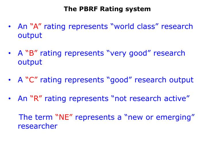 The PBRF Rating system