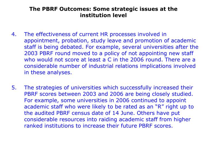 The PBRF Outcomes: Some strategic issues at the institution level