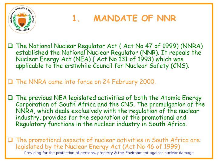 1.MANDATE OF NNR