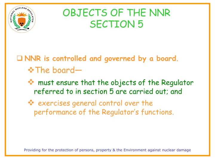 OBJECTS OF THE NNR