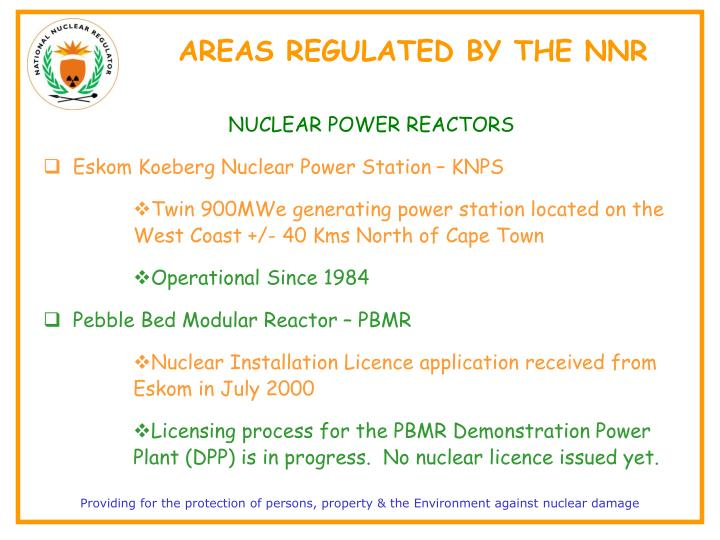 AREAS REGULATED BY THE NNR