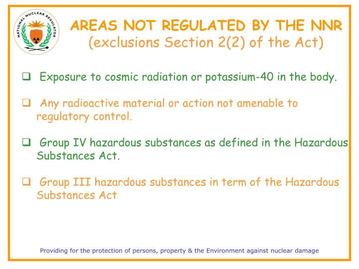 AREAS NOT REGULATED BY THE NNR