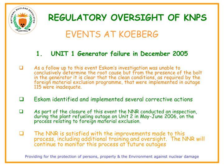 REGULATORY OVERSIGHT OF KNPS