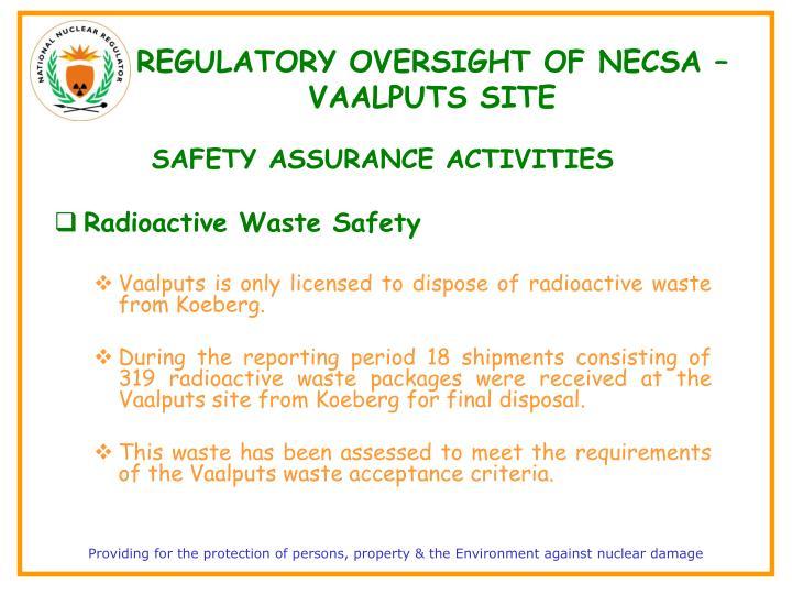 REGULATORY OVERSIGHT OF NECSA – VAALPUTS SITE