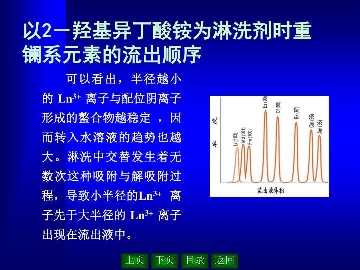 以2-羟基异丁酸铵为淋洗剂时重镧系元素的流出顺序